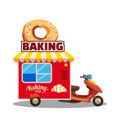 Bakery street food caravan trailer truck van vector