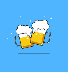 Beers isolated party two friend are drinking vector