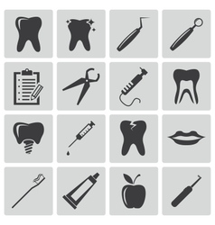 Black dental icons set vector