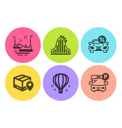 Bumper cars roller coaster and parcel tracking vector