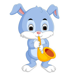 Bunny playing saxophone vector