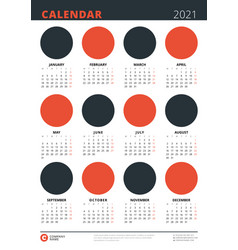 Calendar poster for 2021 year a3 size template vector