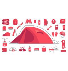 camping set mountain hike equipment kit tourism vector image
