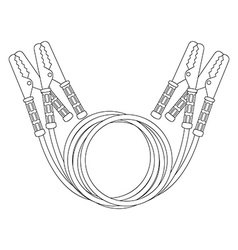 Car jumper power cables Contour vector image