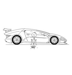 cartoon of man expensive sport car owner sitting vector image
