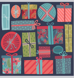 christmas gifts set - hand drawn style vintage vector image