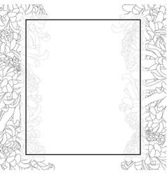 Chrysanthemum outline flower banner card border vector