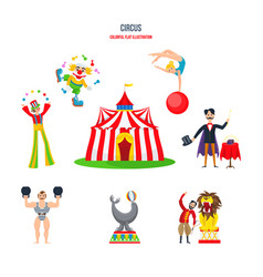clowns jugglers strongman acrobats magician vector image