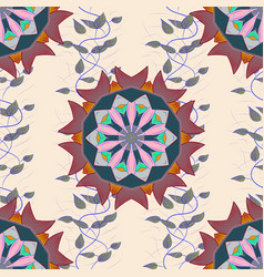 Colored mandala shape on a beige blue and pink vector