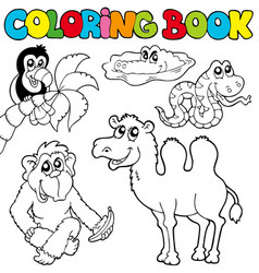 Coloring book with tropic animals 3 vector
