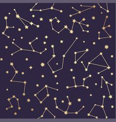 constellations seamless pattern golden stars vector image