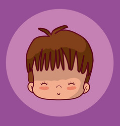 Cute boy face cartoon vector