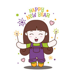 cute little girl celebrate happy new year holiday vector image