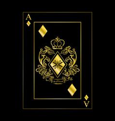 Diamonds ace gold vector