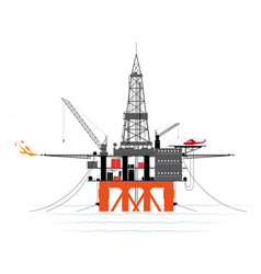 drilling platform for oil or gas production from vector image