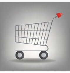 Empty supermarket shopping cart icon iso vector