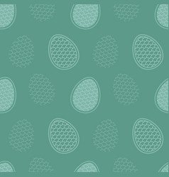 endless pattern eggs on turquoise backdrop vector image