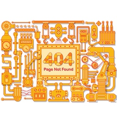 Error 404 Page not found steampunk frame vector