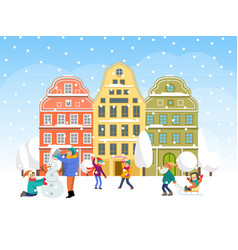 family winter time spend concept character kid vector image