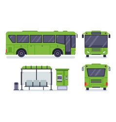 flat city bus public transport stop autobus vector image