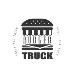 Fresh And Tasty Burger Food Truck Label Design vector image vector image