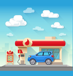 Gas station flat style vector