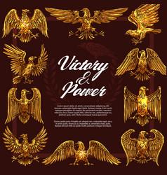 Gold eagles heraldic symbols vector