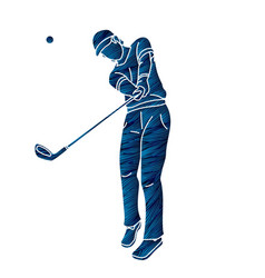 Golf player action cartoon sport graphic vector