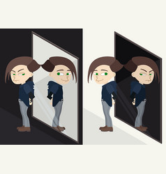 good or bad character reflected in mirror vector image