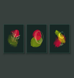green and red abstract watercolor compositions vector image