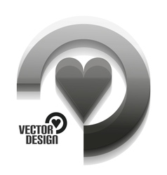 Grey 3d heart design vector image