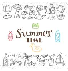 Hand drawn summer time collection Beach theme vector