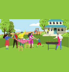 happy family on barbecue party picnic at home vector image