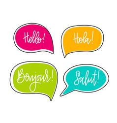 Hello speech bubbles lettering english vector