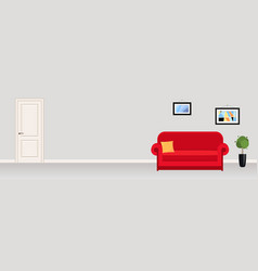 interior modern office with red sofa abstract vector image