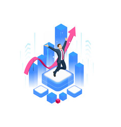 isometric businessman success leadership awards vector image