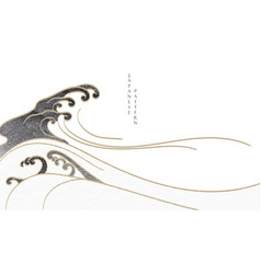 japanese background with hand drawn wave pattern vector image