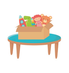 Kids zone table with box filled bear doll rocket vector