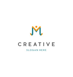 Letter m people creative business logo vector