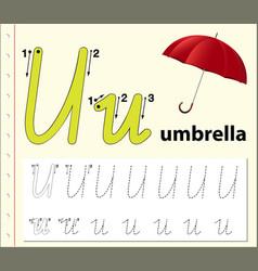 Letter u tracing alphabet worksheets vector