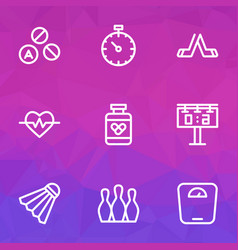 lifestyle icons line style set with pressure vector image