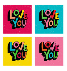 love you hand lettering set vector image