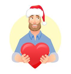 man gives heart vector image