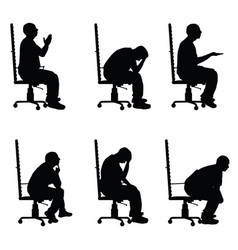 Man silhouette sitting on office chair in various vector