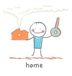 man with a house and key vector image vector image
