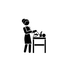 mom swaddles the baby icon black on white vector image