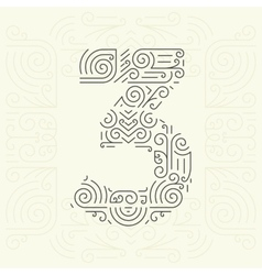 Mono Line style Geometric Font for Text vector image