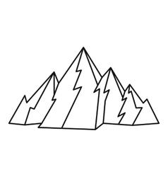 Mountain icon outline style vector