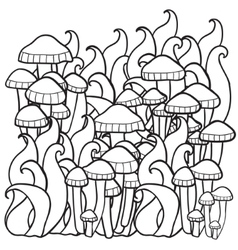 Mushrooms in the forest vector
