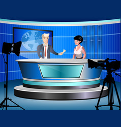 news studio with journalists vector image